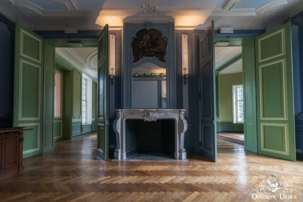 Chateau VP Fireplace and Green Doors