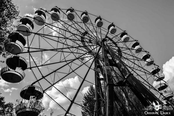 Chernobyl Pripyat Amusement Park Ferris Wheel Black White