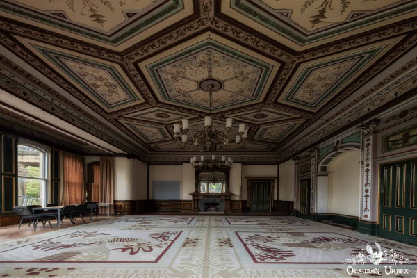 School of Malady England abandoned school headmasters office study with ornate ceiling and chandeliers
