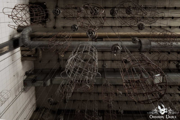 Zeche P Germany Abandoned Coal Mine Clothes Cages and Chains From Below