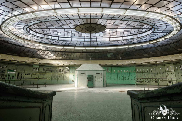 Special K Hungary abandoned power plant control room shelter and light roys with oval skylight