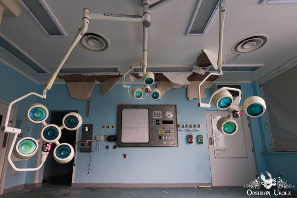 Hospital S England abandoned A&E accident and emergency operating theatre two lights in daylight