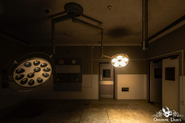 Hospital S England abandoned old 1950s operating theatre one lights