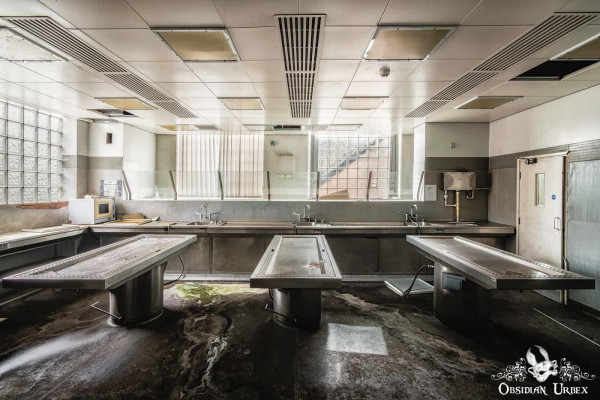 Morgue S England abandoned mortuary autopsy slabs dissection tables