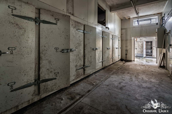 Morgue S England abandoned mortuary body fridges corridor
