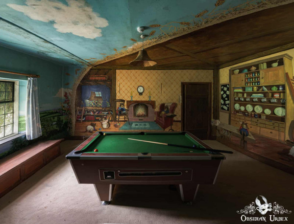 Rockstar Mansion England abandoned manor house pool snooker table