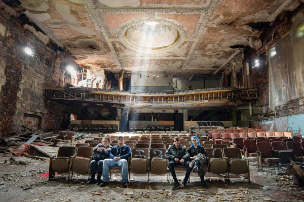 USA Road Trip 2018 Part 2 Group Selfie in Abandoned Theatre Janine Pendleton Jack Alford