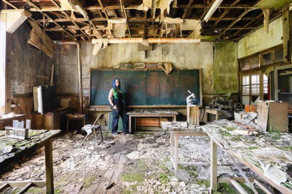 Japan Haikyo Tour 2019 Part 2 Janine Pendleton in Abandoned Japanese School